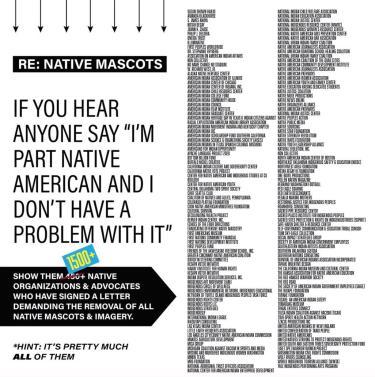 Native Organizations Say No Mascots