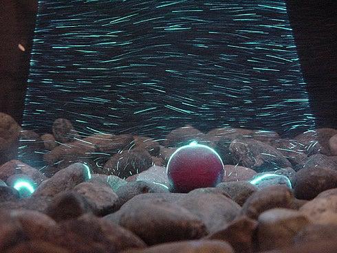 Laser light sheet illuminating sediment transport in a sediment flume.