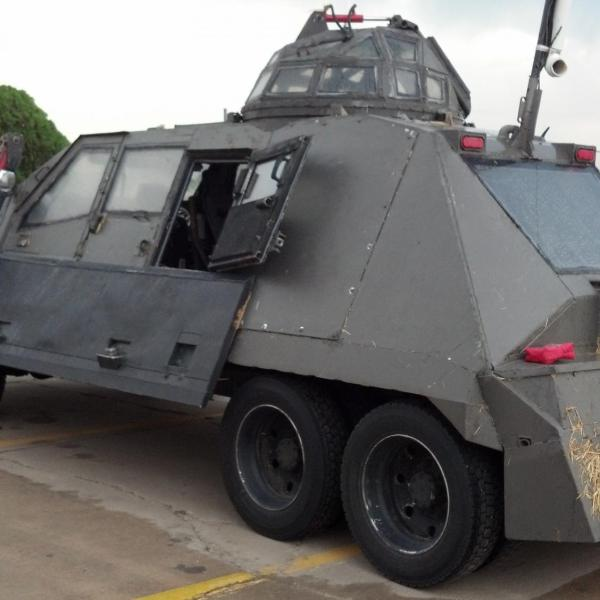 The Tornado Intercept Vehicle (TIV) on 29 May 2013 after intercepting a tornado in Kansas the prior day, which included a bail of hay impacting the back end of the vehicle. The TIV was used by Sean Casey to capture IMAX film of tornadoes, which was included in the Tornado Alley IMAX movie.