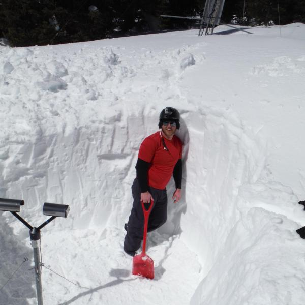 Digging out a PARSIVEL disdrometer at the Soddie research site (11,000 ft elevation) at Niwot Ridge, Colorado on 9 March 2014. The PARSIVEL disdrometer measures snow and rain particle sizes and fall velocities, and in the Spring it needs dug out of the deep snowpack in the Colorado Rockies alpine environment.