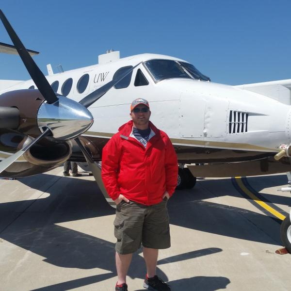 The University of Wyoming King Air research aircraft on display in Hays, Kansas prior to the start of the Plains Elevated Convection at Night (PECAN) field project on 30 May 2015. The PECAN project was a multi-university NSF-funded project aimed at understanding nocturnal convection on the plains of the central US.
