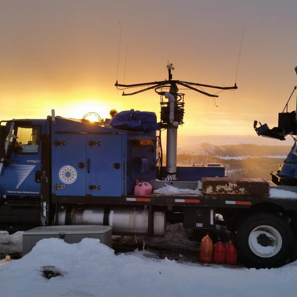 The Center for Severe Weather Research (CSWR) Doppler On Wheels (DOW) mobile radar positioned on the top of Packer John Mountain (7,000 ft elevation) in central Idaho on 30 January 2017 for the SNOWIE field project aimed at observing seeded and natural snowfall within the Payette River Basin.