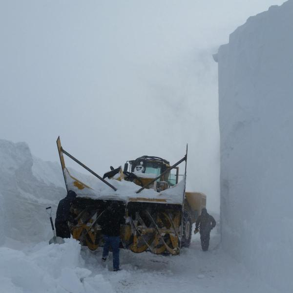 A 20 foot snow drift at the Snowbank mountaintop location (8,000 ft elevation) was carved away by a commercial snow blower on 1 March 2017 in order to access the site during the SNOWIE field project.