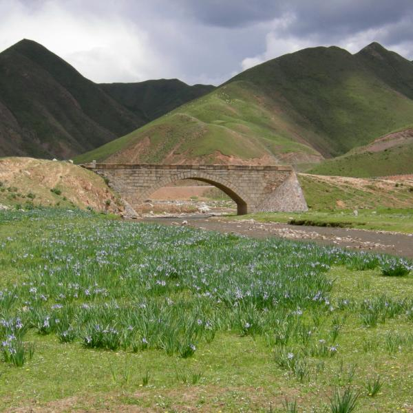 Stone arch bridge across the Daxia River, northeast margin of the Tibetan Plateau, Gansu Province, China. June 2010