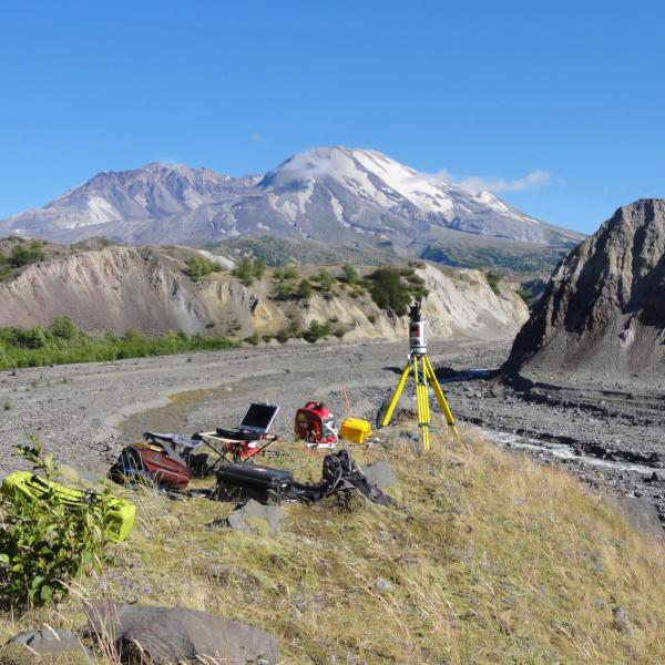 View of Mount St. Helens, WA, and equipment used to scan the topography of the North Fork Toutle River.  Aug. 2010