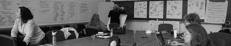 Jenn Yacoubian, Anne Westbook, Holly Devaul, Jeff Miller, and Tamara Sumner at a design process workshop