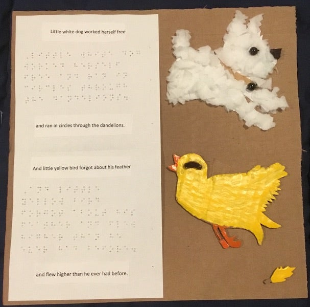 tactile scene of a dog and a bird with braille text