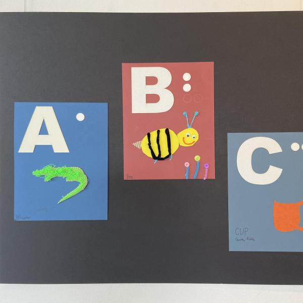 Alphabet panels for letters A,B,C showing alligator, bee, and cup