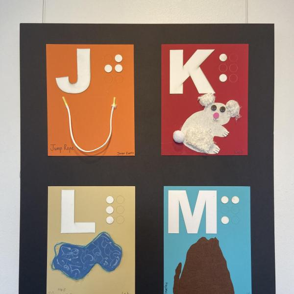 Alphabet paels for letters JKLM showing jumprope, koala bear, lake, and mountain.