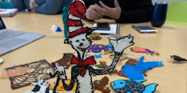 Figure of the Cat in the Hat drawn with 3D pen.