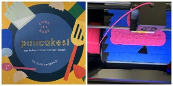 "Book about pancakes and 3D printer printing the word ""pancake""."