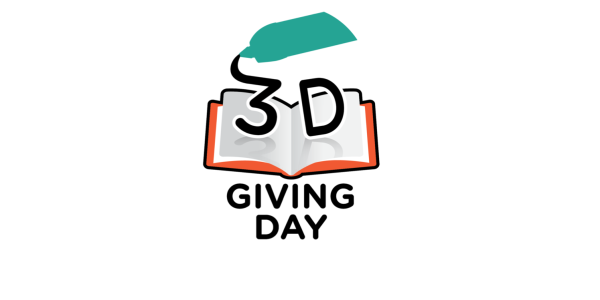 3D Giving Day logo showing 3D pen writing on an open book.