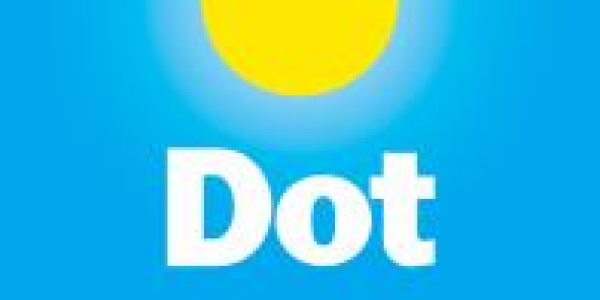 Book cover of Dot by Patricia Intriago showing yellow dot on blue background