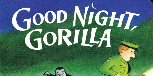 Cover for Goodnight Gorilla showing an illustration of a small gorilla carrying keys and a zookeeper with a flashlight.