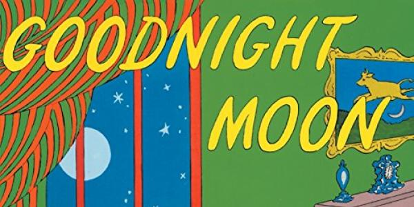 Book cover for Goodnight Moon showing room interior with a fireplace and a window with the moon outside.