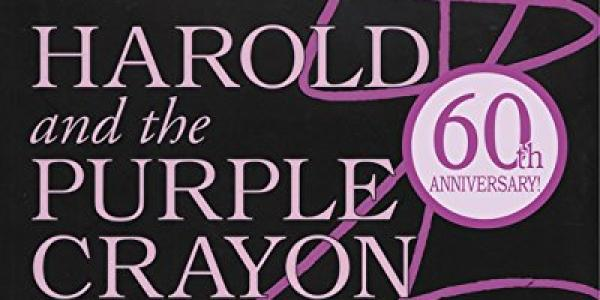 Cover of Harold holding a purple crayon with squiggles an swoops crossing the book cover.