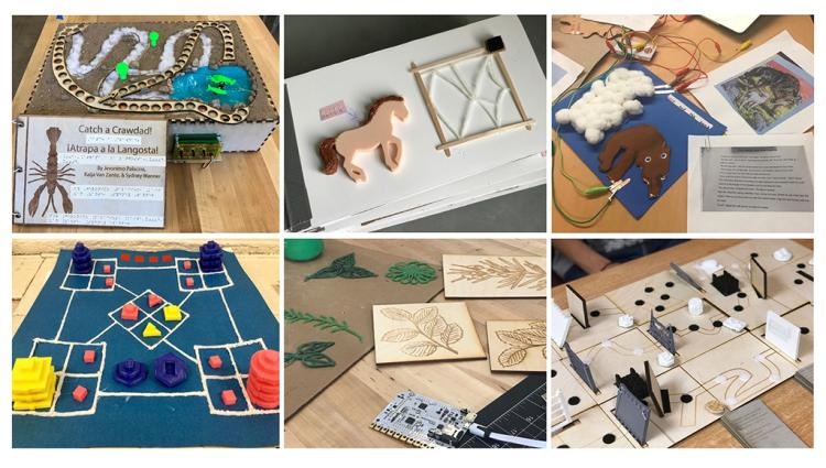 Six photographs showing different types of tactile projects.