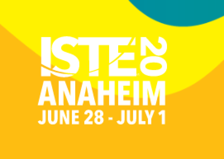 Yellow abstract logo for ISTE 2020 conference