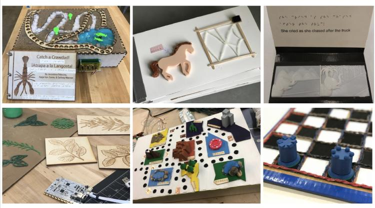Collage of different BBB student tactile projects and books