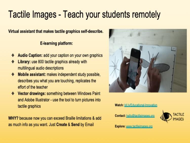 Informational slide with information about Tactile Images app