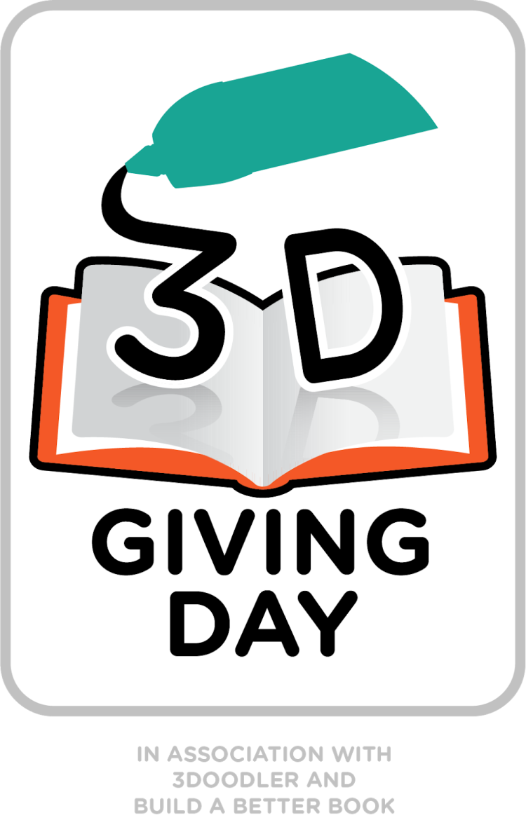 Logo for 3D Giving Day showing 3D pen writing on an open book.