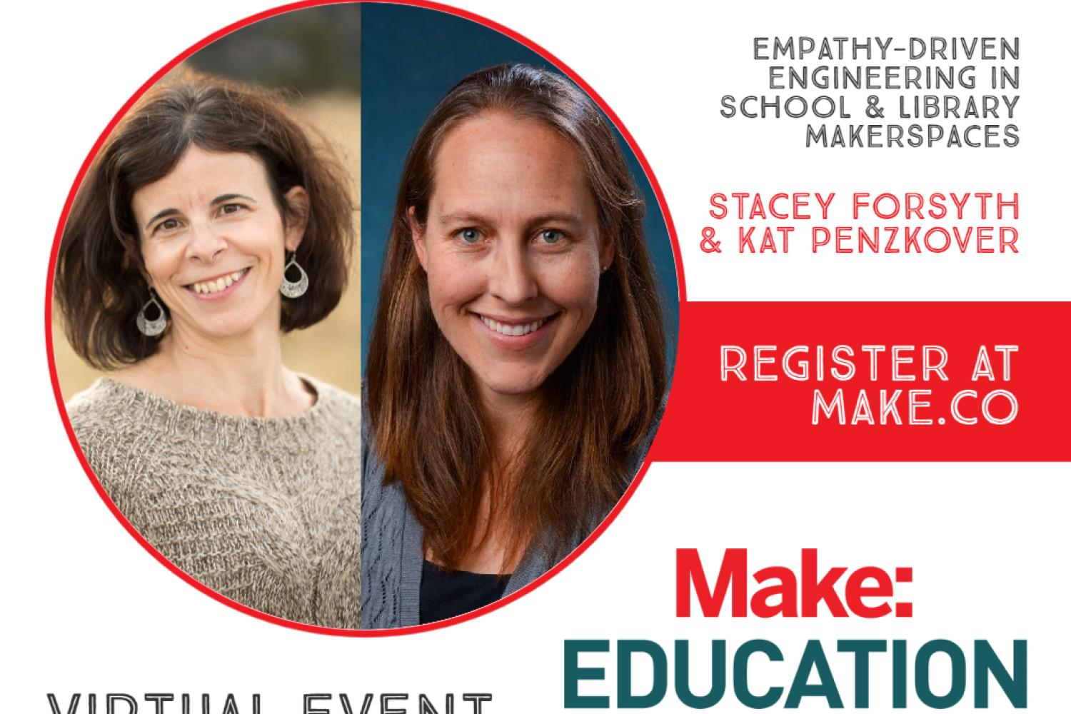 stacey forsyth and kat penzkover with information about BBB session at MakerEd conference