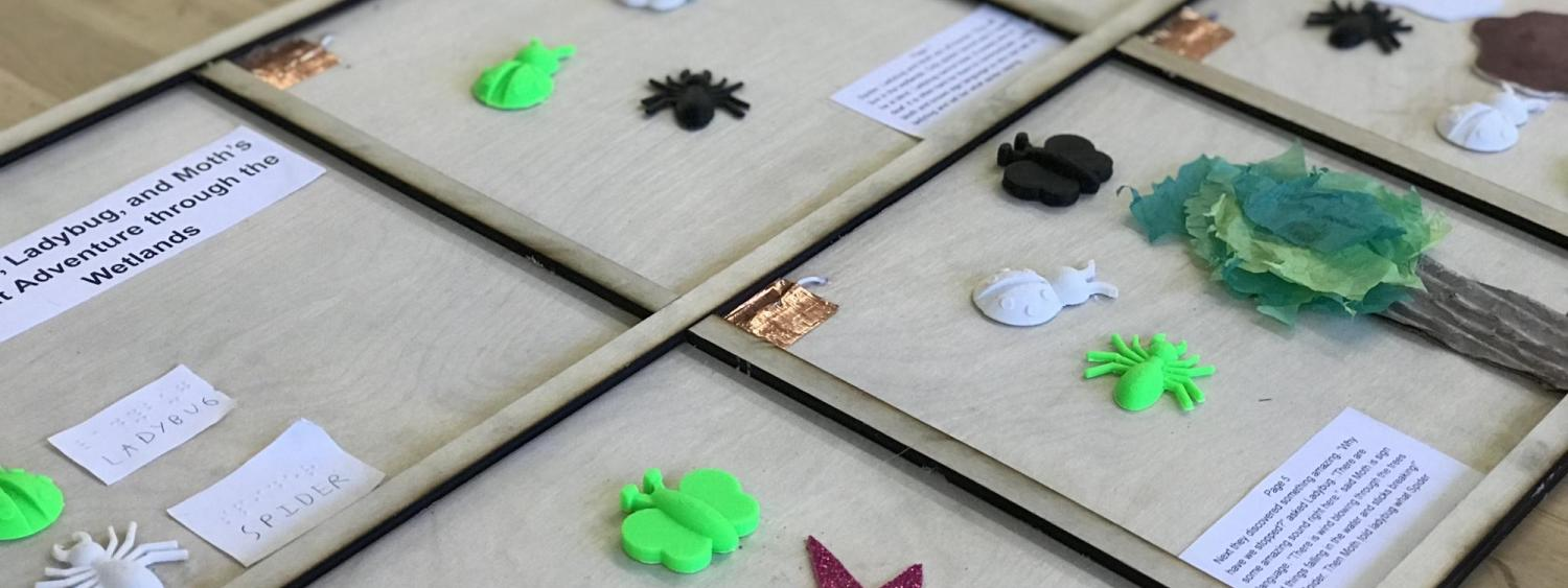 Tactile story about a ladybug, spider and moth.