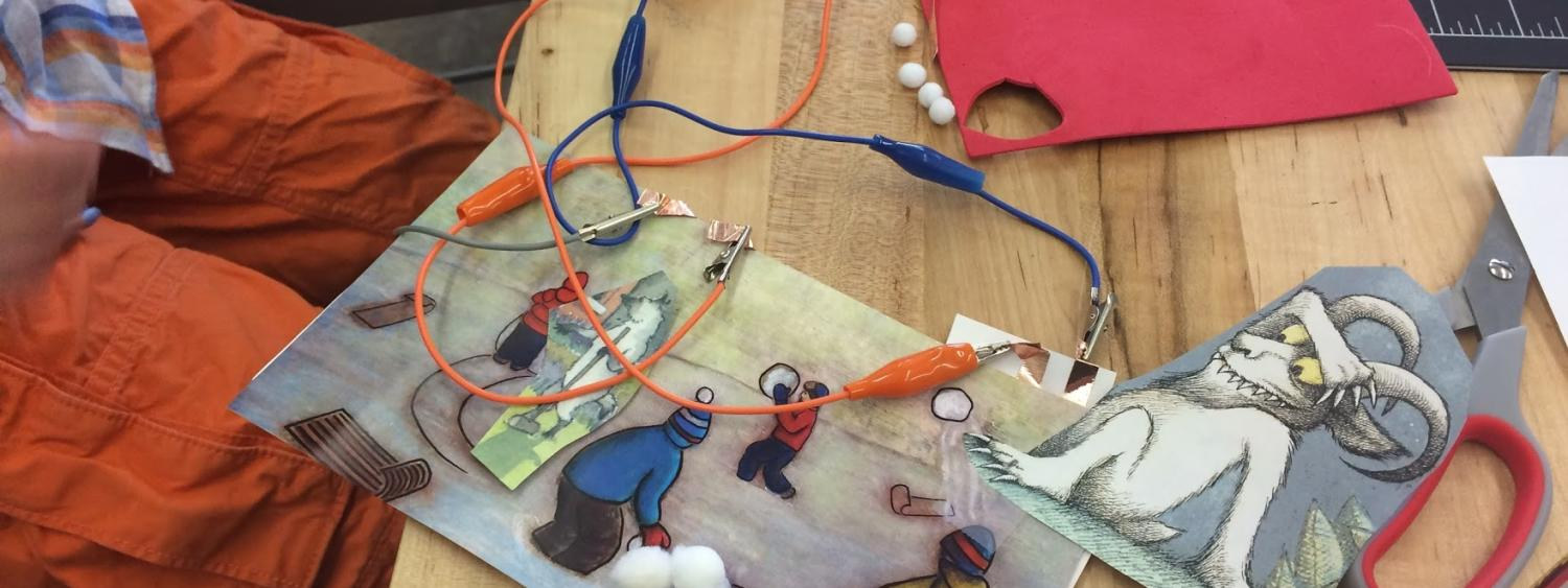 Makey Makey circuit designed to add sound effects to book.