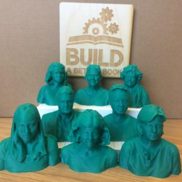 3D printed model of Build a Better Book leadership team