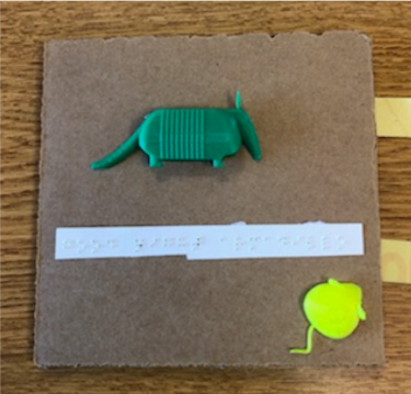 Sample page showing 3D printed armadillo and braille text.