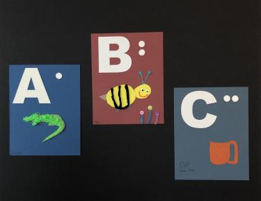 Letters A,B, and C of tactile alphabet panels