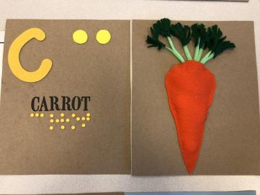 Book page for letter C showing an orange felt carrot with plastic stems and green tassle leaves.