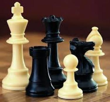 Traditional black and white chess pieces