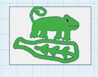 3D printed design of chameleon sitting on a leaf