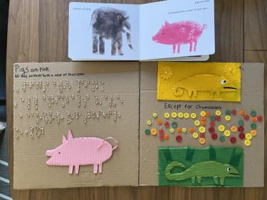 book page showing pig and a yellow and a green chameleon