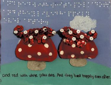 tactile page with two chameleons decorated with sequins sitting on mushrooms