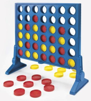 Connect-4 game with playing board and pieces