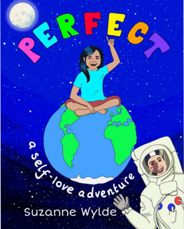 Girl sitting crosslegged on top of the earth with word Perfect above her head