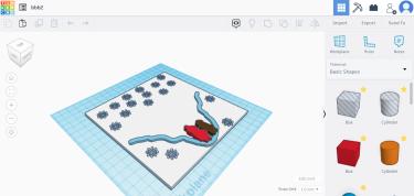 3D print design of two children standing in deep snow