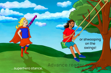 Girl in a superhero outfit with artificial arm and a boy on a swing