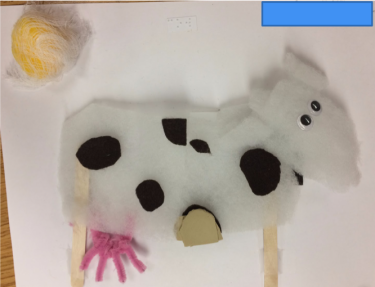 Tactile image of cow made with varying textures