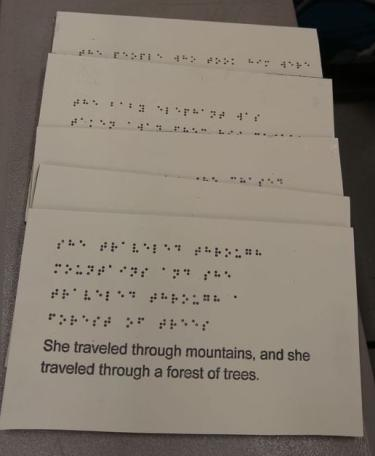 Braille pages with story text for The Unexpected.