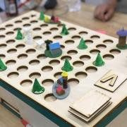 Forest journey board game created with laser cutter.