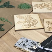 Tactile pieces of lasercut leaves and leaves made from wikkisticks.