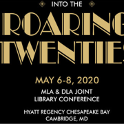 "Black and gold cover for conference program with title ""Roaring Twenties"""