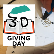 for 3D Giving Day showing 3D printing pen and a book