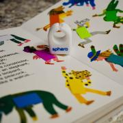 SpecDrums ring on top of an Eric Carle picture book.