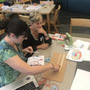 Teachers use Makey Makey and paper circuits to create an interactive diagram of a cell.