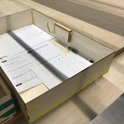 Box made from lasercut wood.
