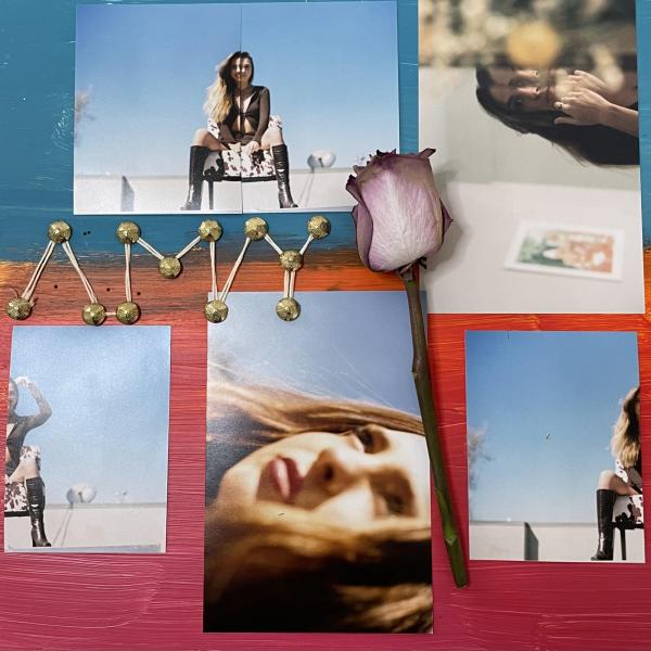 Collage of photographs of women and a rose laying on top